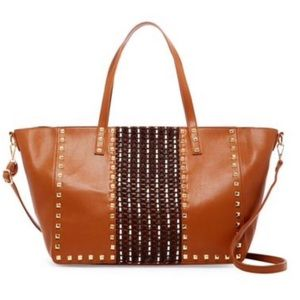✅🌼PH-16388 Oversized Top Zipper Studded Tote bag